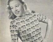 Cherry Fair Isle Sweater PDF Rare 1940s Knitting Pattern (T175)