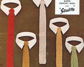 5  Skinny Ties -  Knitting and Crochet Pattern Mens Tie PDF Vintage 1960s (T185) Treasury Item