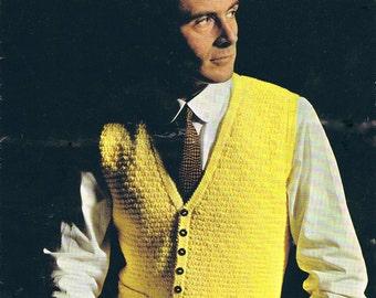 Smoothie Man's Waistcoat Vintage 1970s Knitting Pattern PDF (T145)