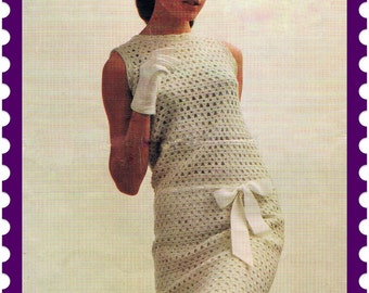 Crochet Dress Pattern Mini Dress 1960s Audrey Hepburn PDF Pattern (T127) INSTANT Download