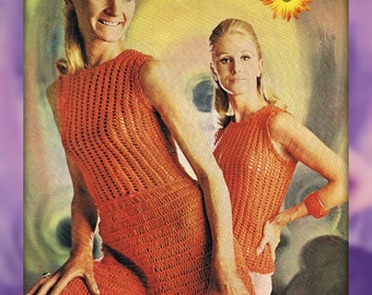 Loopy Lacy 1960s Dress and Top Knitting Pattern PDF Quick (T138)