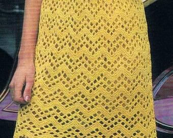 FAB 1970s Crochet Dress Pattern PDF (T143) Vintage