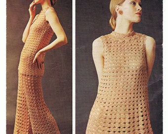 Exquisite Dress, Tunic and Trousers Crochet Pattern PDF Vintage 1970s (T167)