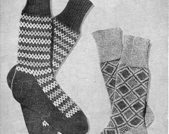 Men's Fair Isle Socks Vintage Knitting Pattern 1940s PDF (T199)