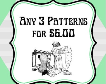 ANY 3 PATTERNS for 6 Dollars    Vintage PDF Patterns to Print at Home
