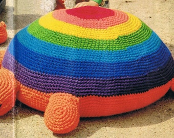 Giant Tortoise Floor Cushion Crochet Pattern Vintage PDF (T208)