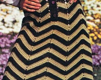 Chevron Skirt Crochet Pattern and Bolero Crochet Pattern Vintage 1970s PDF (T212)