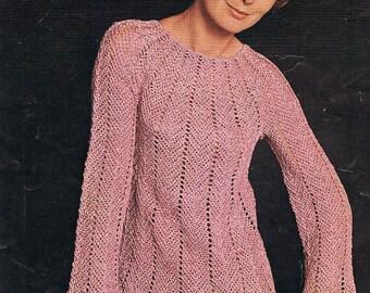 1960s Crochet Dress Pattern Beautiful Fluted Tunic Style PDF (T221)