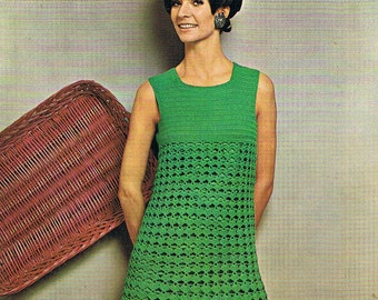 Crochet Dress Pattern 1960s Groovy Dress PDF (T222)