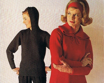 Mod Scooter Hoodie Knitting Pattern Vintage 1960s PDF (T223)