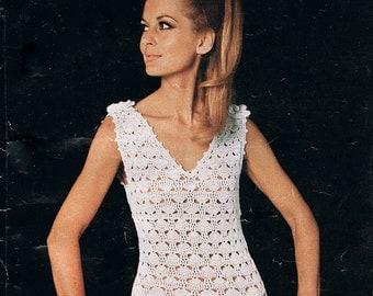 Vintage Crochet Dress Pattern V Neck with Flower Corsage Detail PDF (T225)
