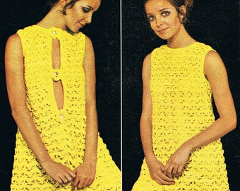 Amazing 1960s Dress Crochet Pattern With Front or Back Opening PDF (T230)