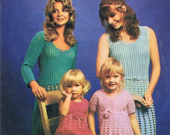 Crochet Dress Pattern 1970s Mother and Daughter Delightful Short or Long Sleeve (T235)