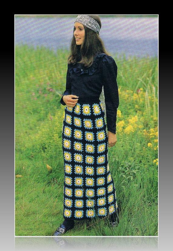 1970s Maxi Skirt Crochet Pattern in Granny Squares PDF T141