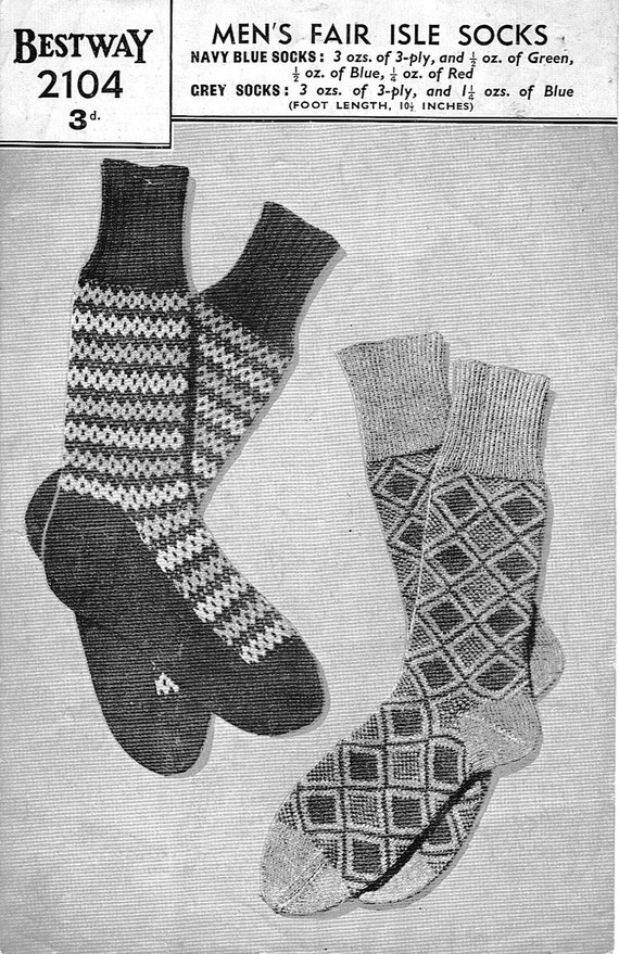 Mens Fair Isle Socks Vintage Knitting Pattern 1940s PDF