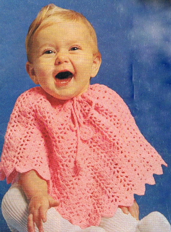 Free Pattern Crochet Childs Poncho : Baby Poncho Crochet Pattern Vintage PDF T207 1970s