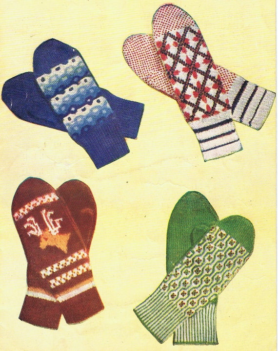 Reindeer Mitts and Fair Isle Gloves Knitting Pattern PDF