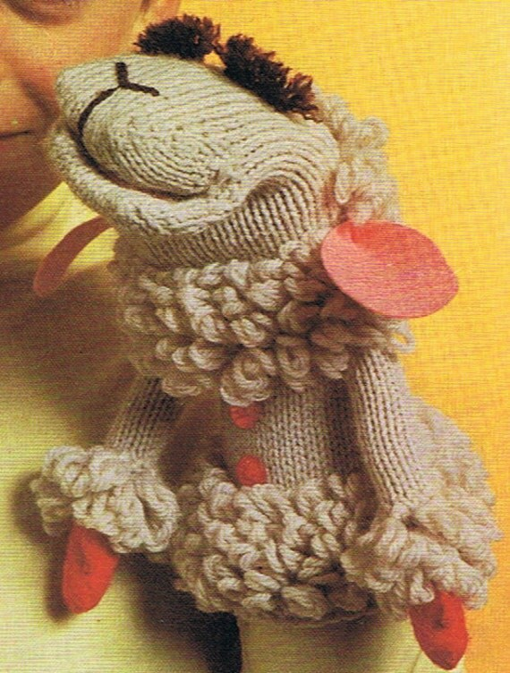 Lamb Chop Glove Puppet Knitting and Crochet Pattern PDF Created by Shari Lewis (T217)