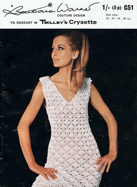 Vintage Crochet Dress Pattern V Neck With Flower Corsage