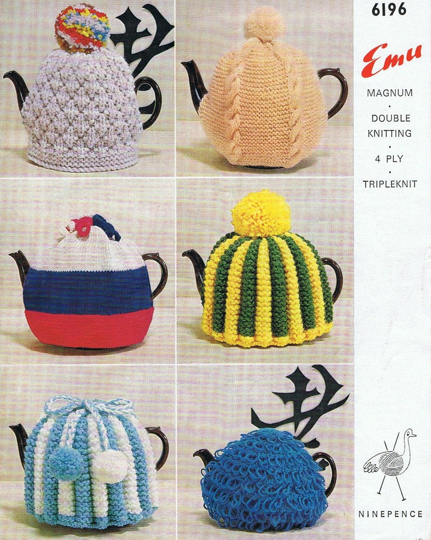 1960s Retro Tea Cosy Pattern 6 Knitting Patterns Tea Cozy PDF