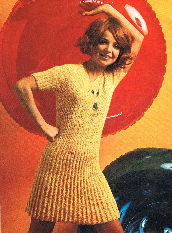 Swinging Sixties: 1960s Mini Dress Knitting Pattern Swinging Sixties Knitted