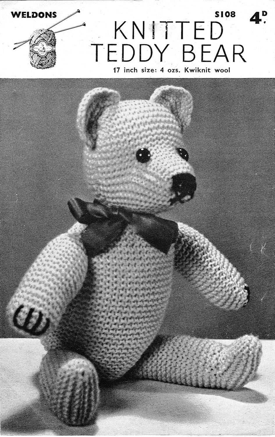Knitting Pattern For All In One Teddy Bear : Classic Teddy Bear Knitting Pattern 1940s Vintage Pattern PDF