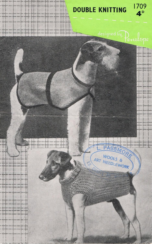 Vintage Dog Coat Knitting Pattern : Dog Sweater Knitting Pattern Vintage 1950s Very Smart PDF