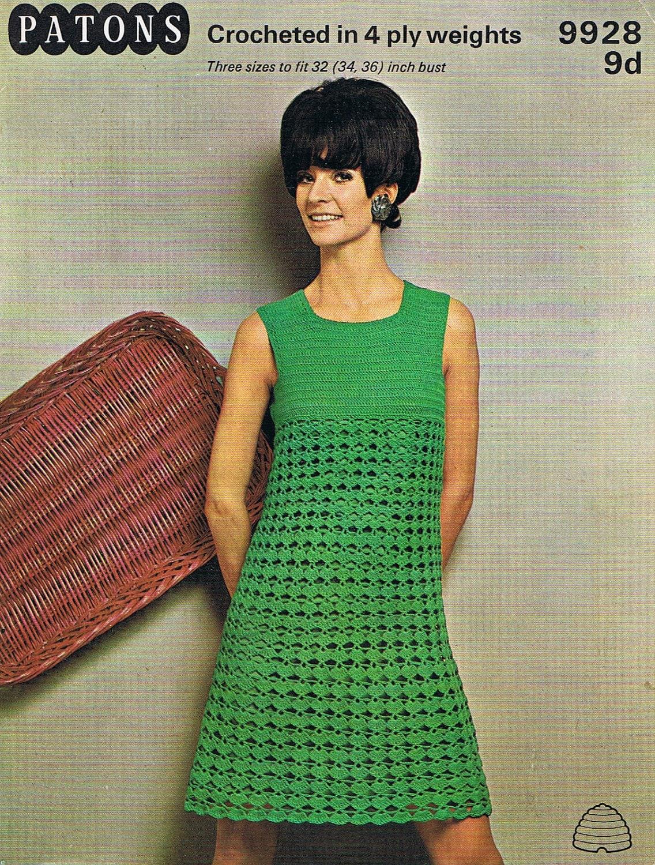Crochet Dress Pattern 1960s Groovy Dress PDF T222