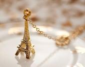 Eiffel Tower Lariat Necklace Gold Circle Paris Eiffel Tower Necklace - N042