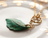 Verdigris Leaf Lariat Gold Ring Patina Leaf Necklace - N045