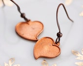 Heart Earrings Vintage Copper Heart Dangle Earrings - E071