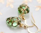 Green Grape Earrings Glass Beads Gold Plated - E079