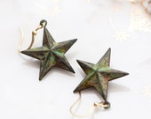 Patina Star Earrings Verdigris Star Dangle Earrings Green Star Pendants Shabby Chic Patina Jewelry - E107
