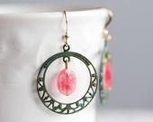 Pink Gemstone Hoop Earrings Patina Filigree Hoop Christmas Rose Drop Earrings Verdigris Dangle Earrings Patina Jewelry - E120
