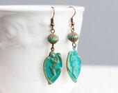 Patina Angel Earrings Turquoise Sleeping Angel Wings Verdigris Teal Earrings Patina Jewelry - E136