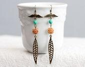 Wing Leaf Long Earrings Angel Wings Turquoise Orange Beads Skinny Leaf Earrings Bohemian Earrings - E146