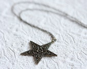 Star Necklace Floral Star Pendant Necklace Antiqued Brass Star Jewelry Long Chain Necklace - N176