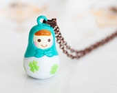Russian Doll Necklace Russian Nesting Doll Miniature Matryoshka Doll Kawaii Babushka Doll Pendant - N182