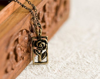 Rose Flower Necklace Antiqued Nature Garden - N025