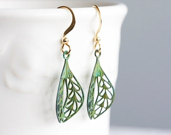 Verdigris Leaf Earrings Intricate Leaf Filigree Patina Earrings Green Earrings - E051
