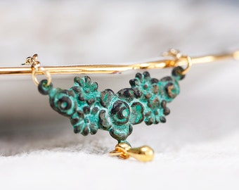 Patina Floral Necklace Gold Filled Chain Tear Drop Verdigris Flower Necklace Art Deco Jewelry - N099
