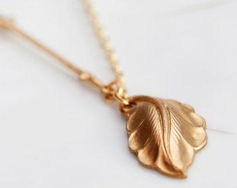 Tiny Leaf Necklace Gold Filled Chain Fleur De Lis Connector Leaf Pendant - N121