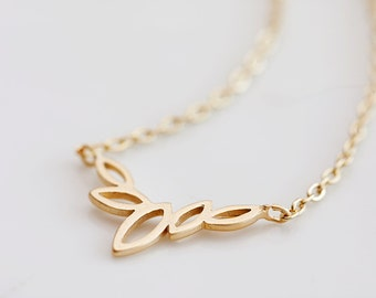 Tiny Gold Marquise Necklace Gold Filled Chain Petite Flower Petal Necklace - N133