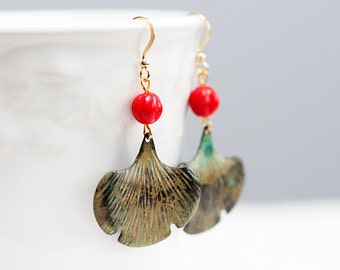 Patina Ginkgo Earrings Red Bead Verdigris Ginkgo Leaf Earrings Christmas Earrings Retro Leaves Rustic Patina Leaves - E117