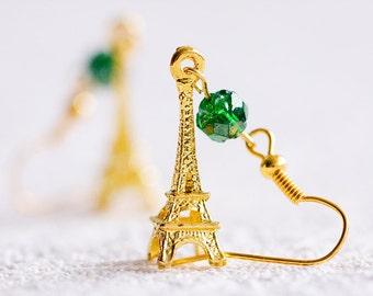 Eiffel Tower Earrings Paris Eiffel Tower Charm Green Bead Earrings - E013