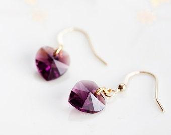 Purple Crystal Heart Earrings Swarowski Crystal Earrings Tiny Heart Dangle Simple Delicate Earrings - E137