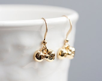 Tiny Bow Earrings Sweet Bow Tie Earrings Gold Bow Cute Earrings Little Bow Dangle Earrings - E141