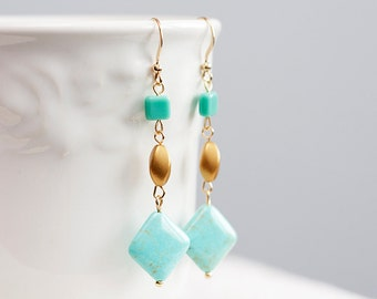 Spring Turquoise Earrings Square Pastel Beads long Earrings Spring Fashion Aqua Blue Earrings - E143