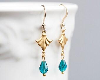 Teal Blue Drop Gold Fan Earrings Blue Crystal Drops Brass Tiny Fan Charm Gold Earrings Elegant Jewelry - E149