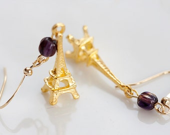 Paris Eiffel Earrings Gold Eiffel Tower Earrings French Paris Earrings Romantic Eiffel Tower Charms - E150
